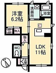 JR山陽本線 五日市駅 バス20分 利松1丁目バス停下車 徒歩3分の賃貸アパート 1階1LDKの間取り