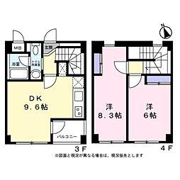 東京都八王子市小宮町の賃貸マンションの間取り
