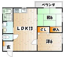 コーポ浅倉II[2階]の間取り