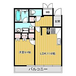 VIA定禅寺 4階1LDKの間取り