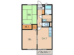 和歌山県海南市日方の賃貸マンションの間取り