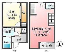 サイドパインIIA棟 (ペット可メゾネット) 2階1LDKの間取り