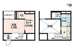 愛知県名古屋市千種区竹越1丁目の賃貸アパートの間取り