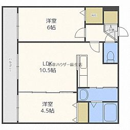札幌市営南北線 麻生駅 徒歩8分の賃貸マンション 4階2LDKの間取り