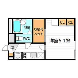 Osaka Metro谷町線 守口駅 徒歩15分の賃貸アパート 1階1Kの間取り