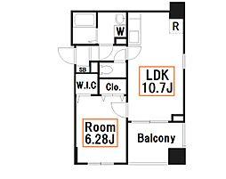 新築 フィールドV 築地 7階1LDKの間取り