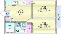グリーンハイツNo2 2階2DKの間取り
