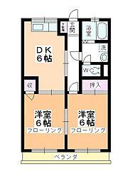 パークハイツ冨田[2-B号室]の間取り