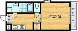 京阪本線 千林駅 徒歩3分の賃貸マンション 3階1Kの間取り