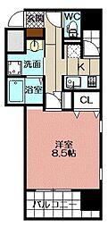 アースコートY`sシティ片野新町 12階1Kの間取り