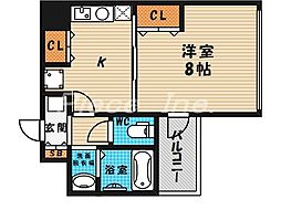 大阪府大阪市北区山崎町の賃貸マンションの間取り