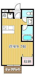 埼玉県鶴ヶ島市大字鶴ヶ丘の賃貸アパートの間取り