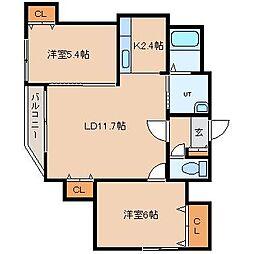 北海道札幌市東区北十六条東7丁目の賃貸マンションの間取り