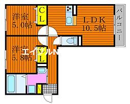 仮)D-room今保 2階2LDKの間取り