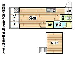 福岡県北九州市小倉北区高浜2丁目の賃貸アパートの間取り