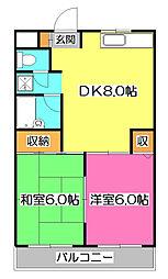埼玉県所沢市星の宮2丁目の賃貸マンションの間取り