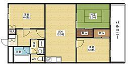 第2マンション寺直[3階]の間取り