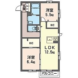 仮称 見川町シャーメゾン B[2階]の間取り