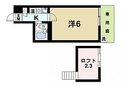 奈良県大和郡山市小泉町の賃貸アパートの間取り