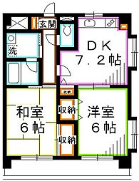 JR中央本線 吉祥寺駅 バス15分 消防大学前下車 徒歩2分の賃貸マンション 2階2DKの間取り