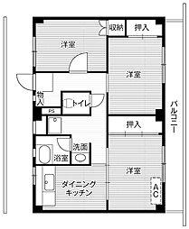 ビレッジハウス四郎丸4号棟2階Fの間取り画像
