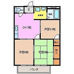 サンハイツ稲垣B[2B号室]の間取り