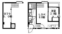 福岡市地下鉄空港線 姪浜駅 徒歩9分の賃貸アパート 2階1LDKの間取り