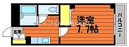 JR山陽本線 新倉敷駅 徒歩4分の賃貸マンション 4階1Kの間取り
