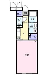 JR宇部線 居能駅 徒歩11分の賃貸マンション 1階1Kの間取り