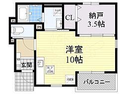 近鉄長野線 喜志駅 徒歩17分の賃貸アパート 1階ワンルームの間取り