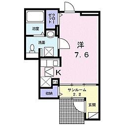福岡市地下鉄七隈線 桜坂駅 徒歩8分の賃貸アパート 1階1Kの間取り