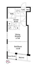 都営新宿線 岩本町駅 徒歩3分の賃貸マンション 2階1DKの間取り