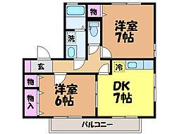 愛媛県松山市西石井3丁目の賃貸アパートの間取り