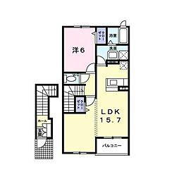 東急東横線 菊名駅 徒歩17分の賃貸アパート 2階1LDKの間取り