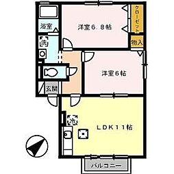 エクレール B棟[B102号室]の間取り