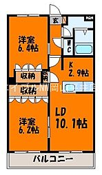 JR赤穂線 大多羅駅 徒歩18分の賃貸マンション 1階2LDKの間取り
