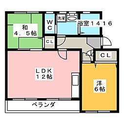 なるみグリーンコーポ4号棟[3階]の間取り