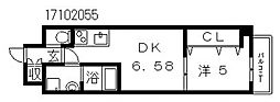 クローバーグランツ阿倍野[6階]の間取り