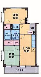 ロイヤルプラザ米山A[1階]の間取り