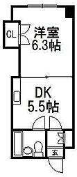 第2晃和ビル[406号室]の間取り