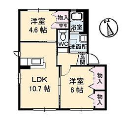 メゾン竹島II[1階]の間取り