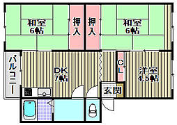 石田団地[304号室]の間取り