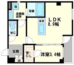 (仮称)上新庄PJ 2階1LDKの間取り