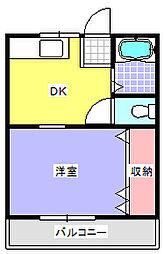 JR高崎線 鴻巣駅 徒歩8分の賃貸アパート 1階1DKの間取り
