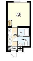 東京メトロ東西線 木場駅 徒歩5分の賃貸マンション 4階1Kの間取り