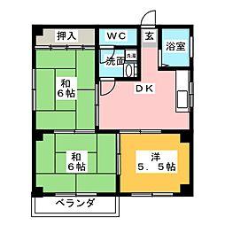 コーポ羽衣[2階]の間取り