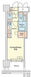 都営浅草線 泉岳寺駅 徒歩14分の賃貸マンション 12階ワンルームの間取り