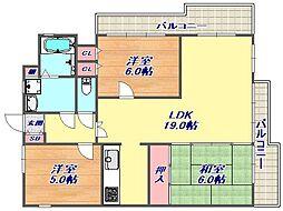ライオンズマンション芦屋西[602号室]の間取り