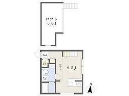 (仮)プリマ別所壱番館 1階ワンルームの間取り