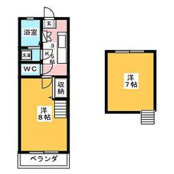 エスポワールII 2階1Kの間取り